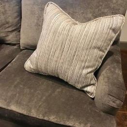 Custom sofa & pillow reupholstery
